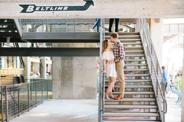 Engagement session on the Atlanta belt line in Ponce City Market