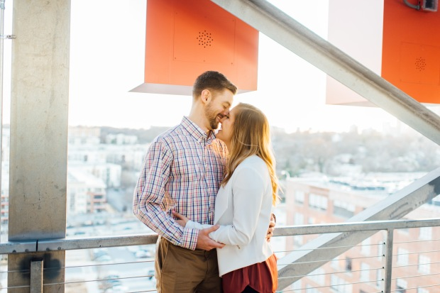 rooftop engagement session atlanta ponce city market sunset skyline casey green photography georgia wedding photographer
