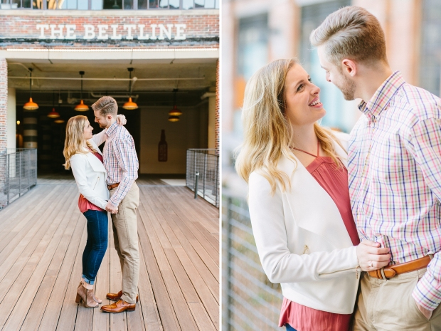 Atlanta beltline couple posing engagement session at ponce city market georgia wedding photographers