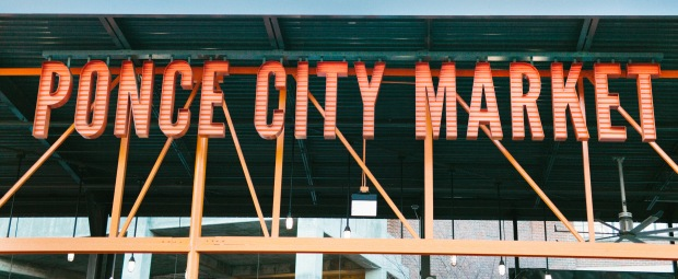 ponce city market sign atlanta engagement session casey green photography atlanta wedding photographer