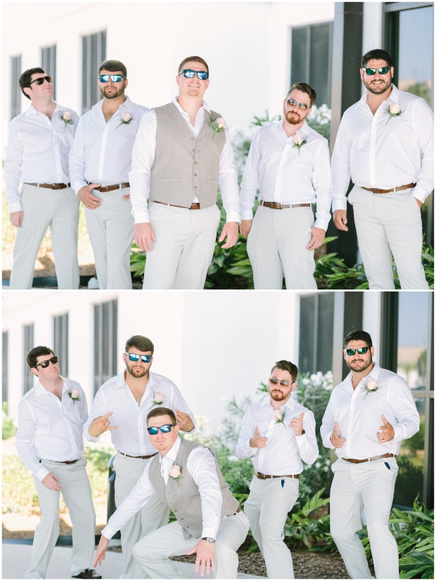 groomsmen smiling and posing for casual photo