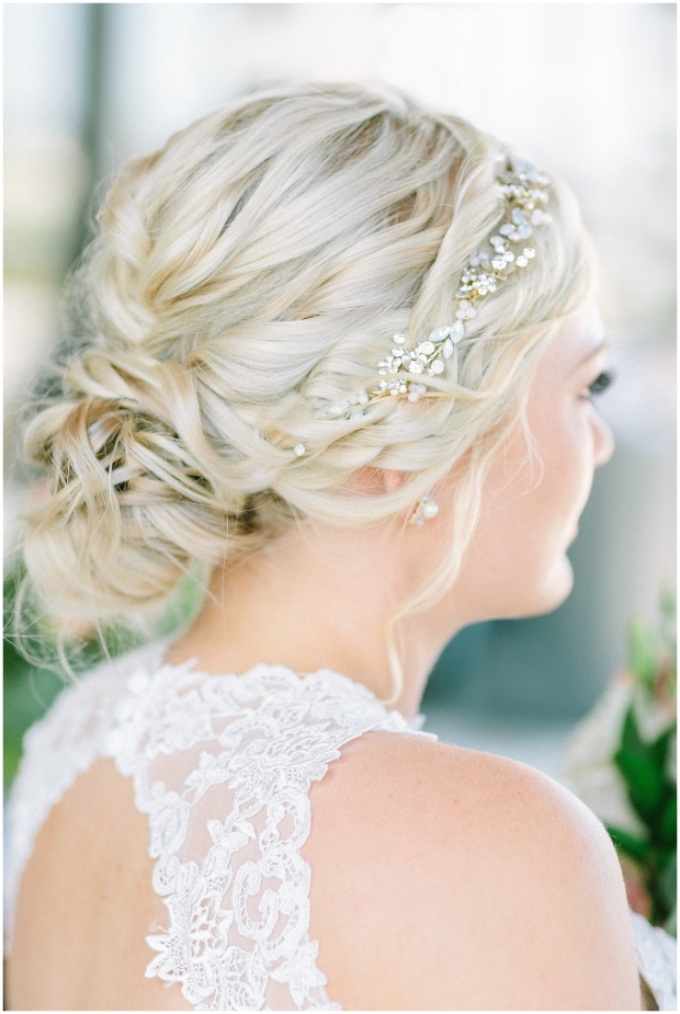 back of blonde bride's hairstyle on wedding day